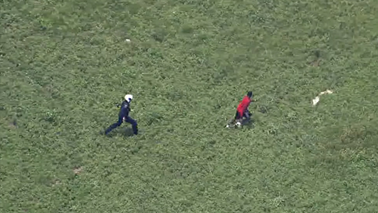Helicopter Pilot Tackles Suspect